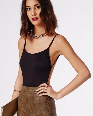 Fashion Shop - Backless Crepe Bodysuit Black