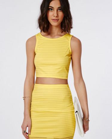 Fashion Shop - Burnout Ribbed Crop Top Lemon