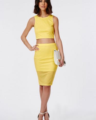 Fashion Shop - Burnout Ribbed Midi Skirt Lemon