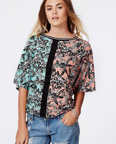 Fashion Shop - Contrast Floral Sports Rib T-Shirt