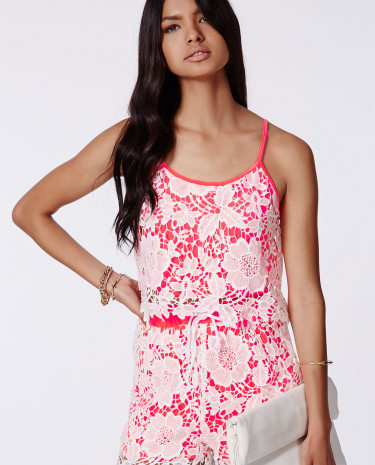 Fashion Shop - Coral Crochet Overlay Cami Top