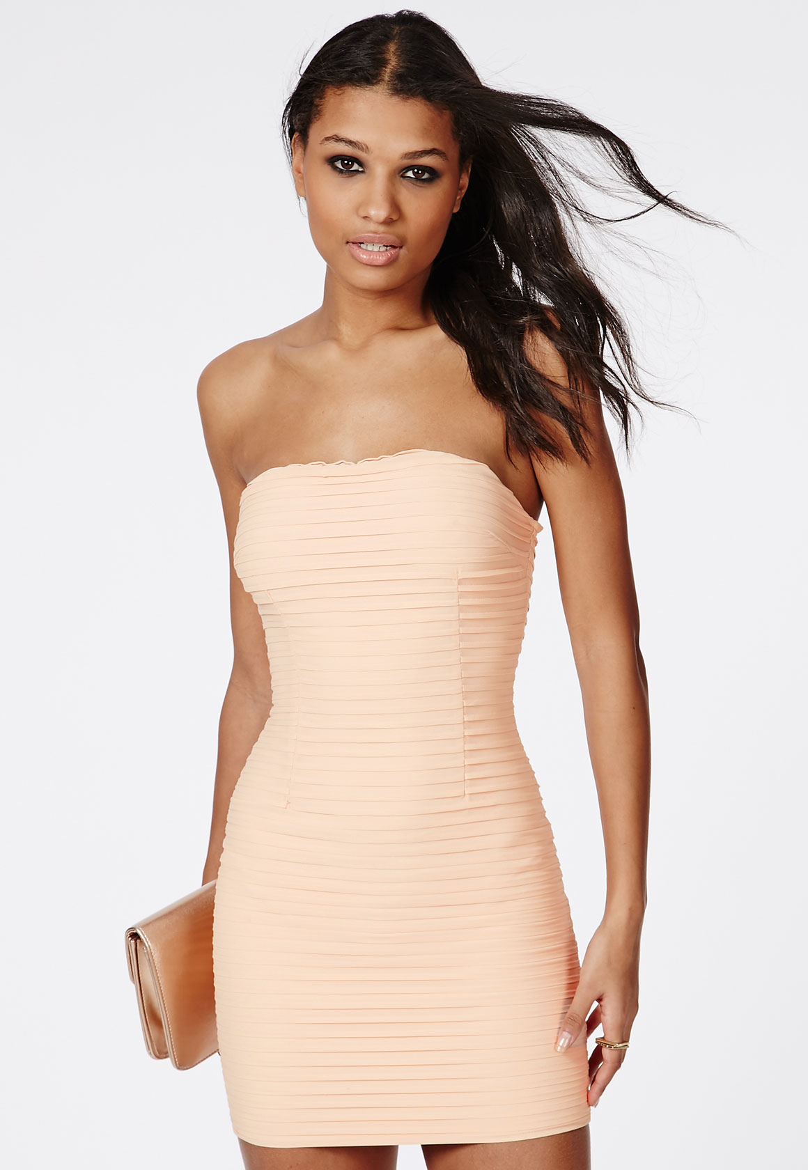 Fashion Shop - Crinkle Chiffon Mini Dress Nude
