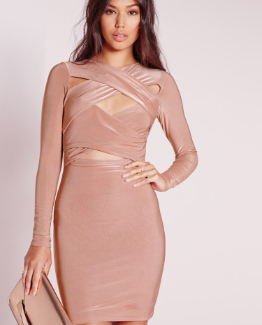Fashion Shop - Cross Over Bodycon Dress Rose