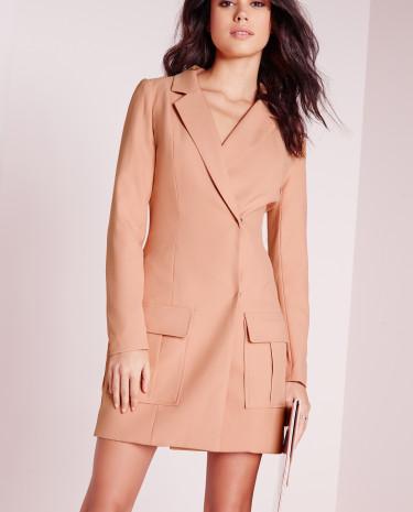 Fashion Shop - Detail Blazer Dress Dusky Pink