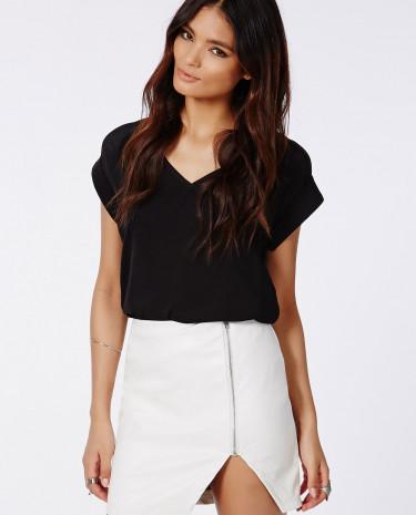 Fashion Shop - Faux Leather Asymmetric Zip Detail Skirt White