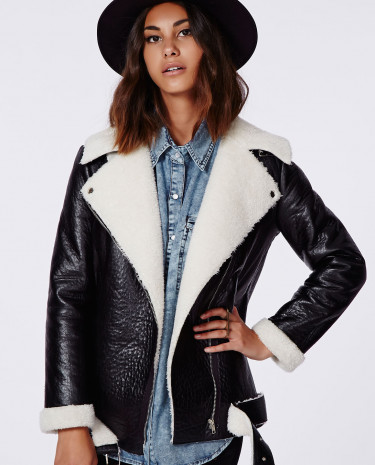 Fashion Shop - Faux Leather Shearling Jacket Black