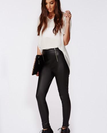 Fashion Shop - Faux Leather Zip Detail Pants Black