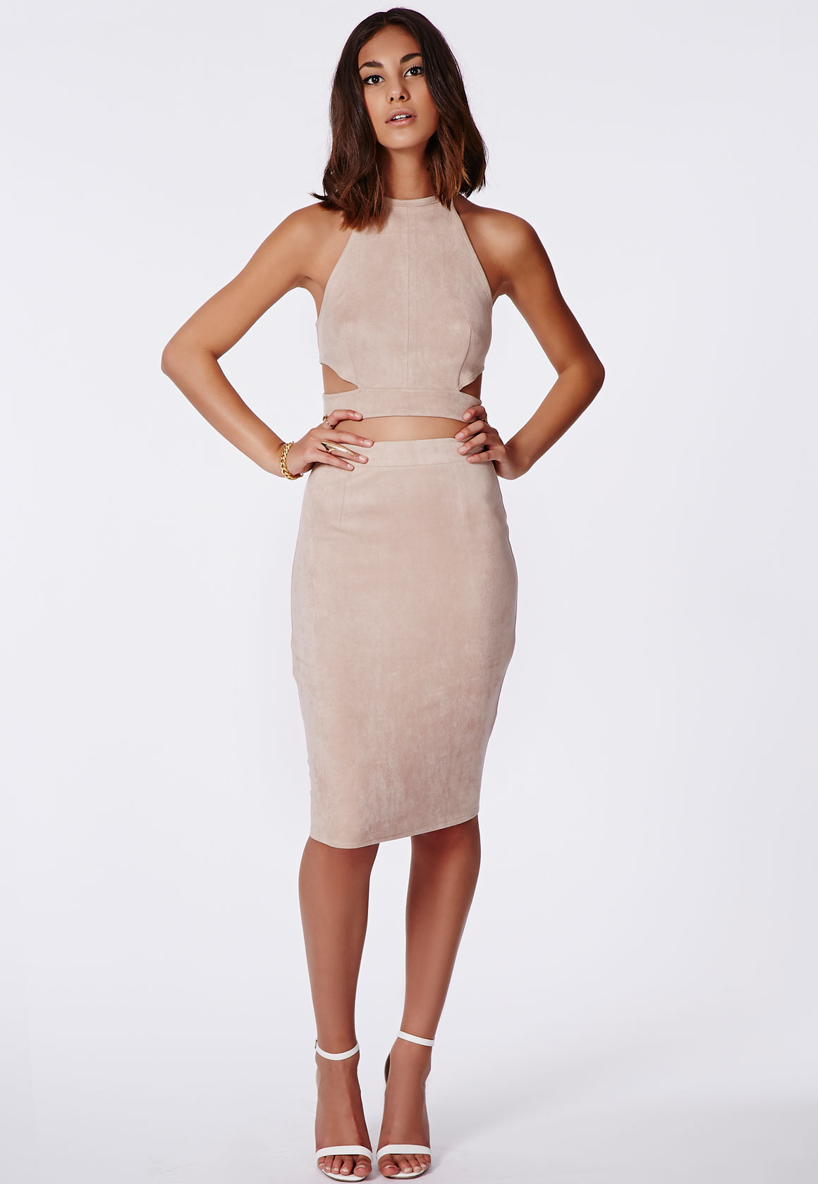 Fashion Shop - Faux Suede Midi Skirt Taupe