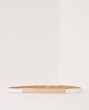 Fashion Shop - Gold Plate Belt White