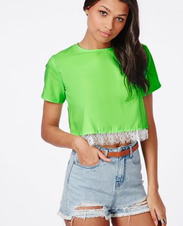 Fashion Shop - Green Eyelash Lace Trim Crop Top