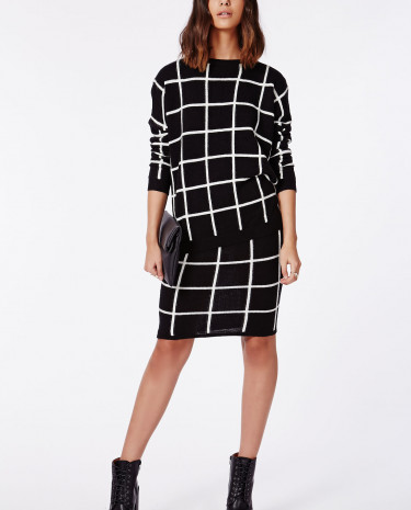 Fashion Shop - Grid Brushed Knit Midi Skirt Monochrome