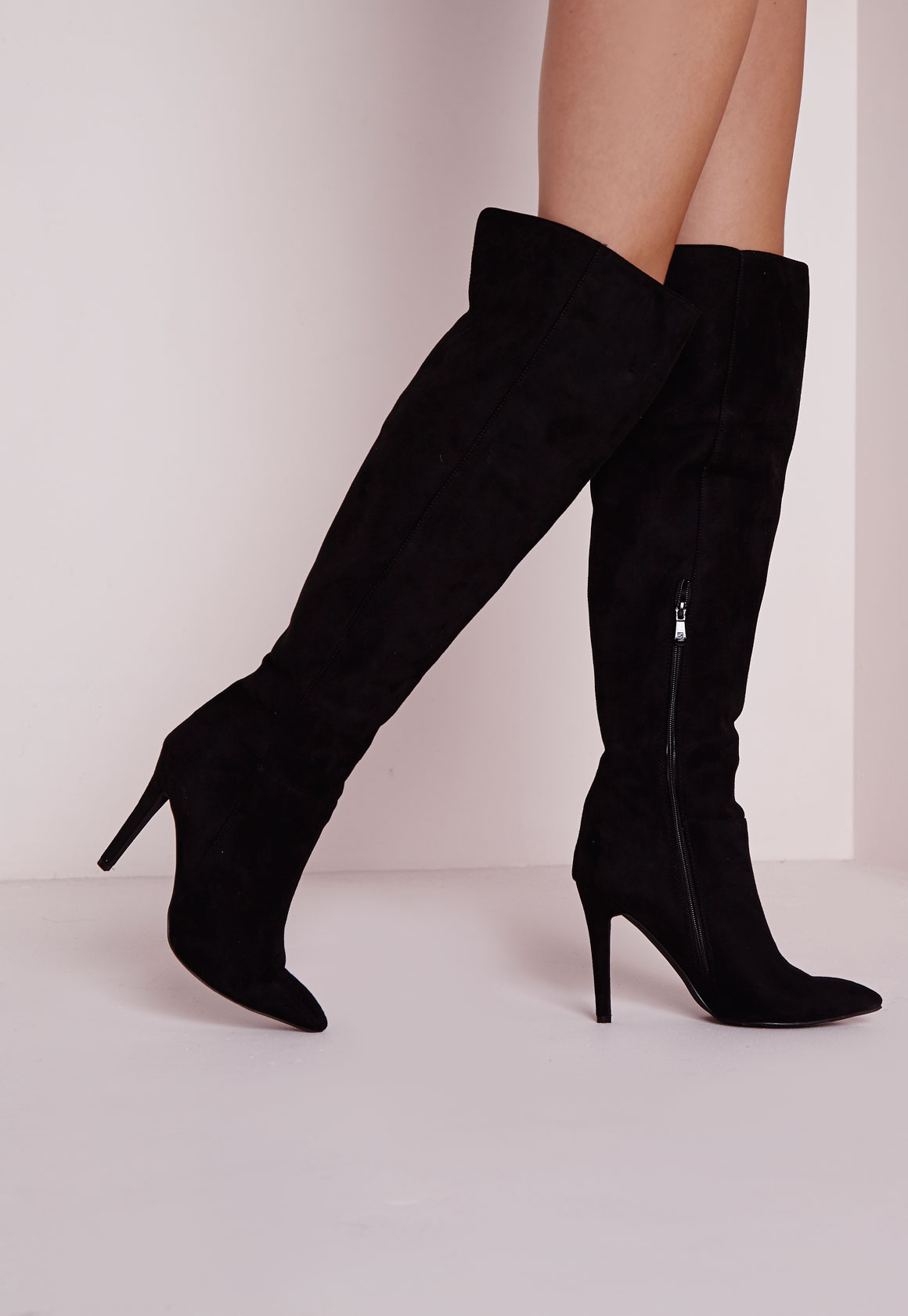 Fashion Shop - High Stiletto Heeled Boots Black