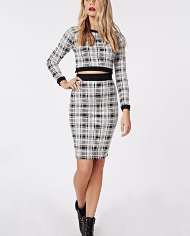 Fashion Shop - High Waisted Check Midi Skirt White