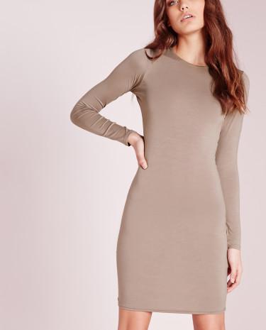 Fashion Shop - Jersey Bodycon Mini Dress Brown