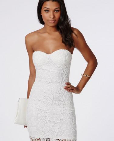 Fashion Shop - Lace Bandeau Bodycon Dress White