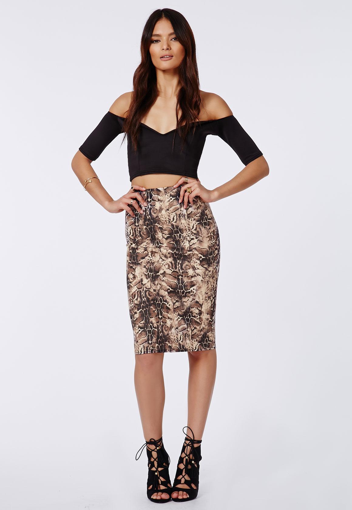 Fashion Shop - Leopard Print Scuba Midi Skirt Cream