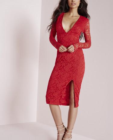 Fashion Shop - Long Sleeve Side Split Midi Dress Red