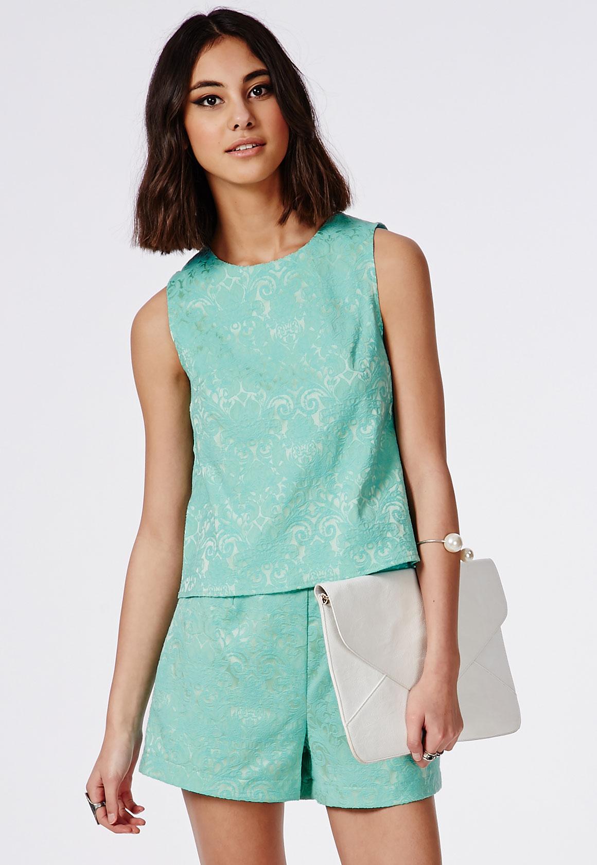 Fashion Shop - Mint Brocade High Waisted Shorts
