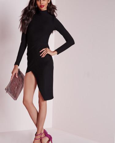 Fashion Shop - Neck Asymmetric Hem Midi Dress Black
