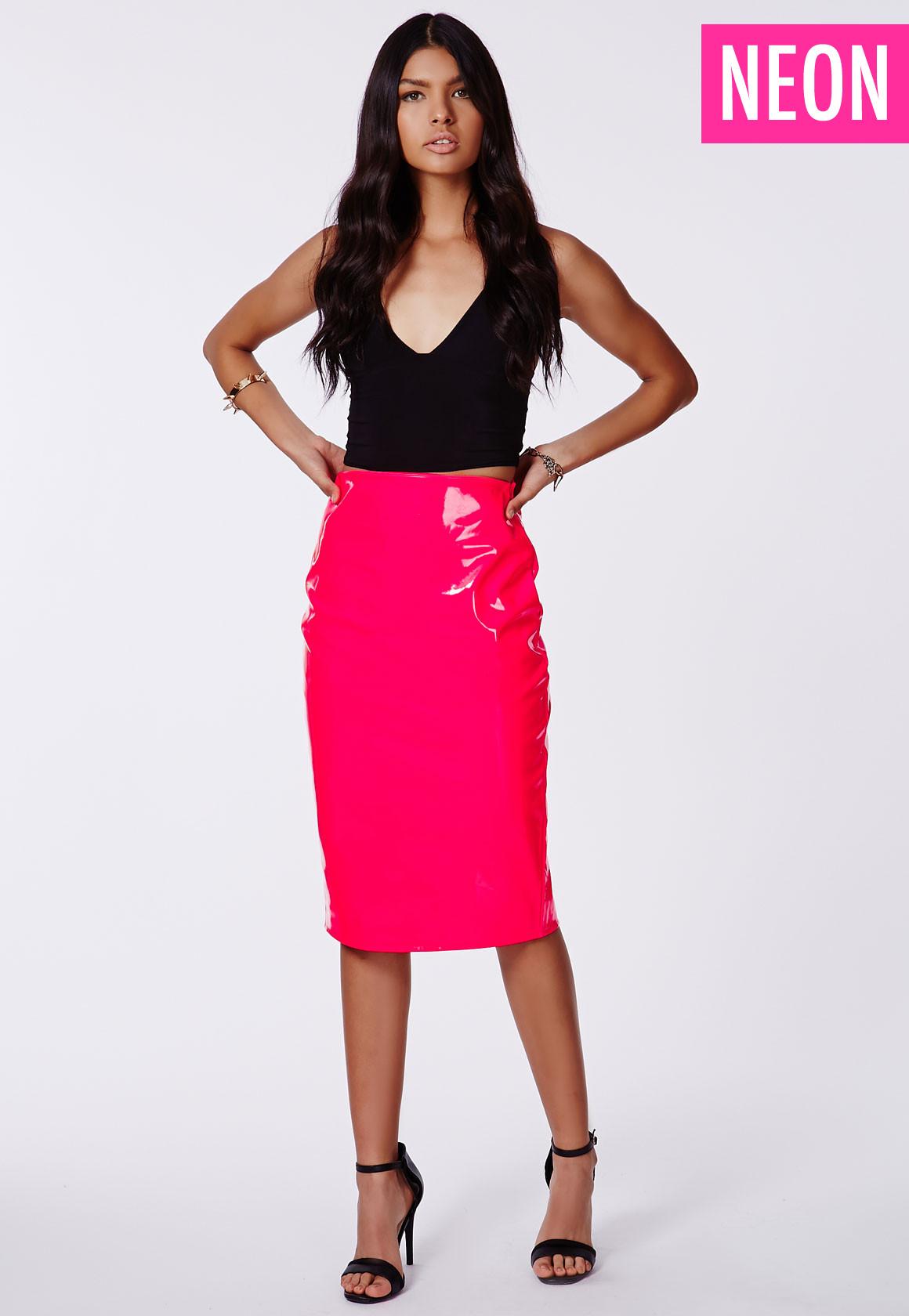 Fashion Shop - Neon Pink PVC Midi Skirt