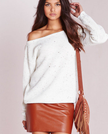 Fashion Shop - Off Shoulder Jumper Cream Nep
