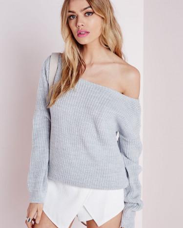 Fashion Shop - Off Shoulder Knitted Jumper Grey