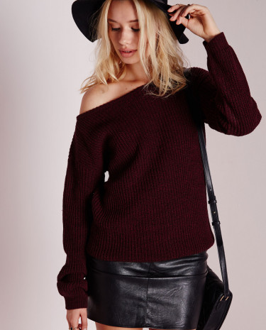 Fashion Shop - Off Shoulder Knitted Jumper Wine