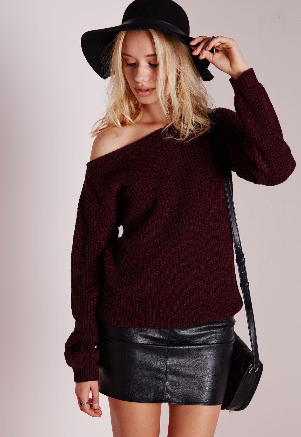 Fashion Shop - Off Shoulder Knitted Jumper Wine