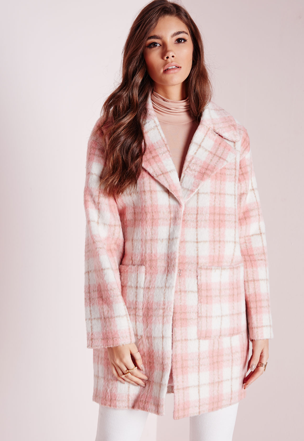 Fashion Shop - Oversized Cocoon Coat Pink Check