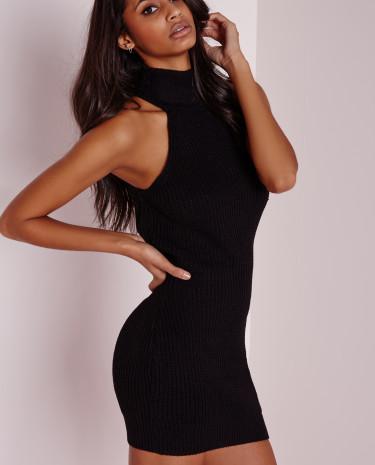 Fashion Shop - Racer Neck Knitted Dress Black