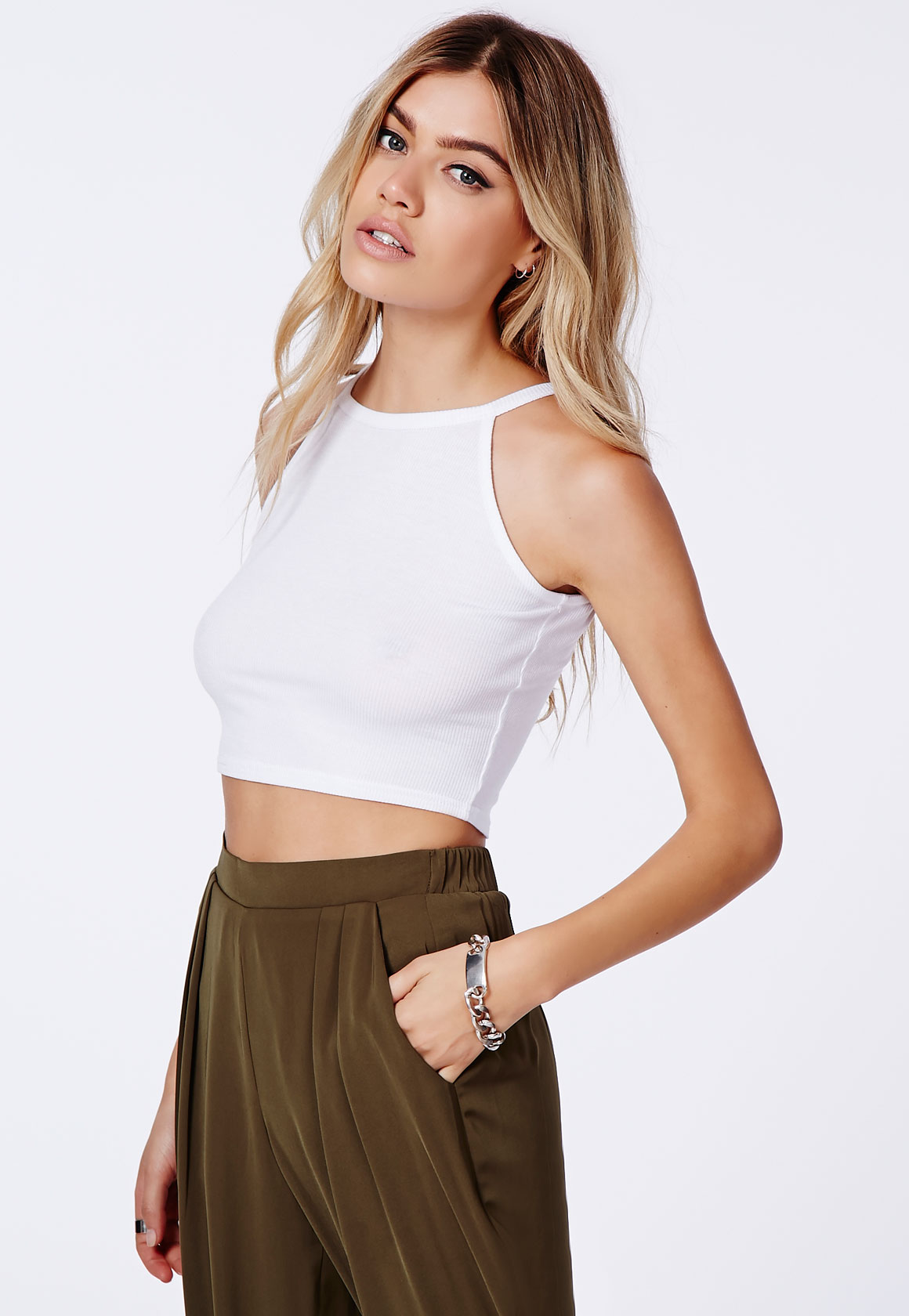 Fashion Shop - Ribbed High Neck Crop Top White