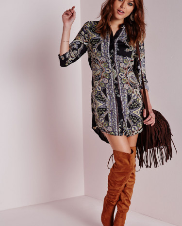 Fashion Shop - Shirt Dress Paisley Print