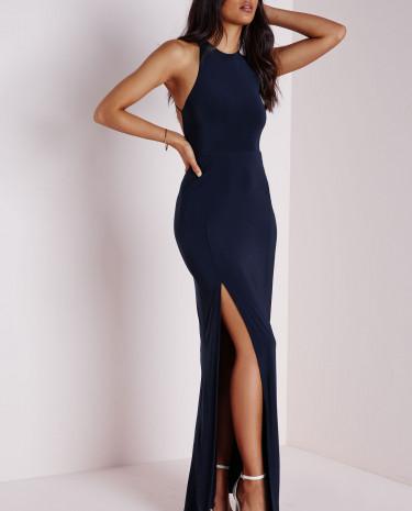 Fashion Shop - Side Split Maxi Dress Navy