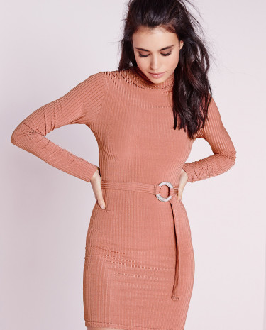 Fashion Shop - Sleeve High Neck Rib Belted Bodycon Dress Pink