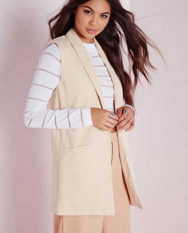 Fashion Shop - Sleeveless Longline Blazer Camel