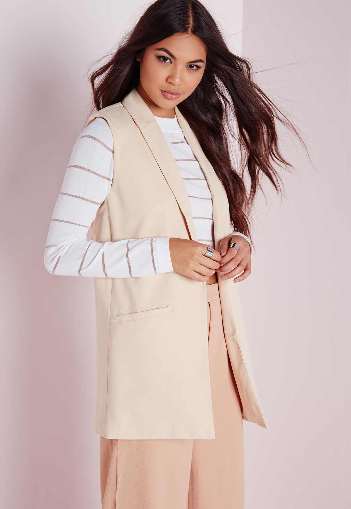 Fashion Shop - Sleeveless Longline Blazer Camel