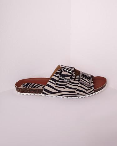 Fashion Shop - Strap Buckle Sliders Zebra Print