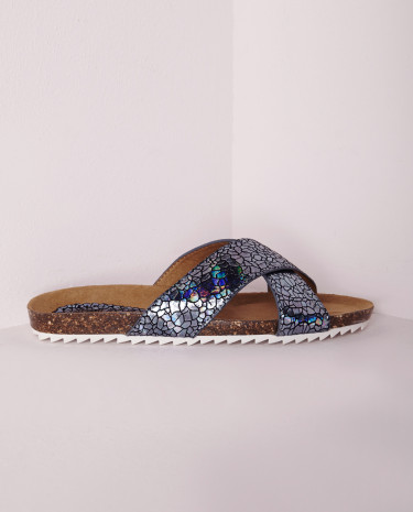 Fashion Shop - Strap Sliders Holographic Blue