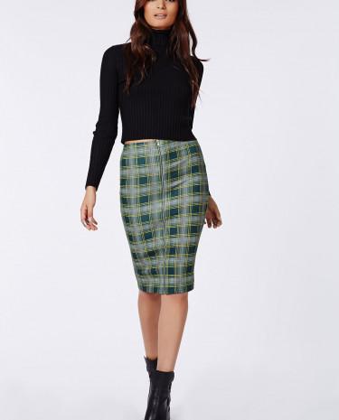 Fashion Shop - Tartan Front Zip Midi Skirt
