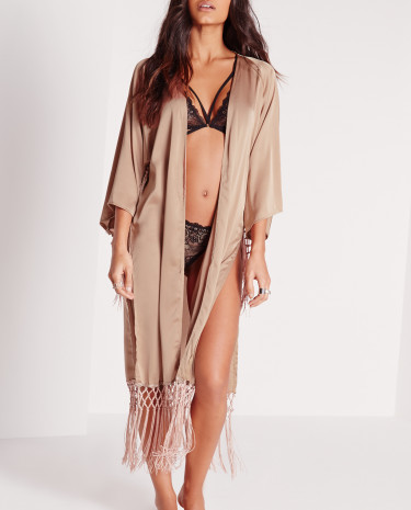 Fashion Shop - Tassel Satin Dressing Gown Nude