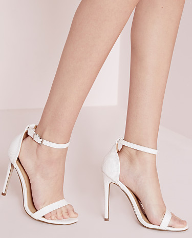 Fashion Shop - There Strappy Heeled Sandals White Croc
