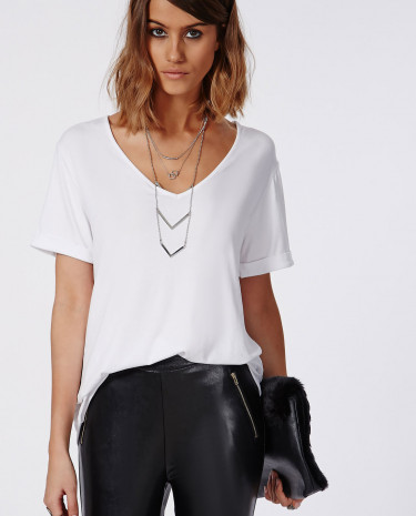 Fashion Shop - V Neck T Shirt White