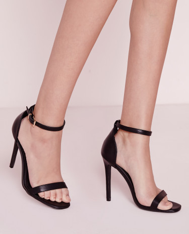 Fashion Shop - Women's Strappy Heeled Sandals - Black