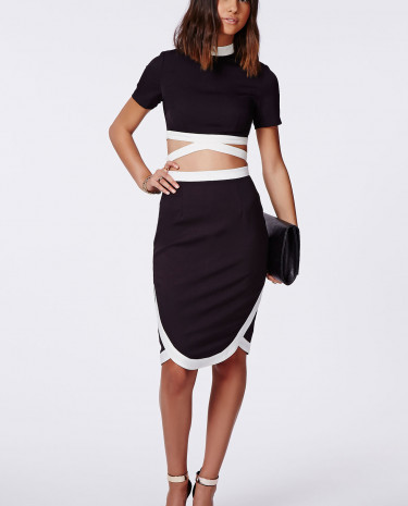 Fashion Shop - Wrap Hem Contrast Midi Skirt Black