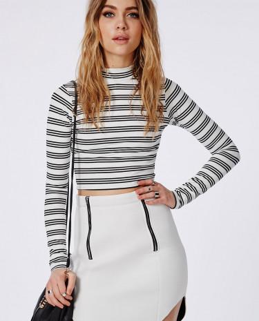 Fashion Shop - Zip Detail Mini Skirt White