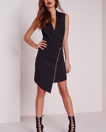 Fashion Shop - Crepe Sleeveless Blazer Dress Black