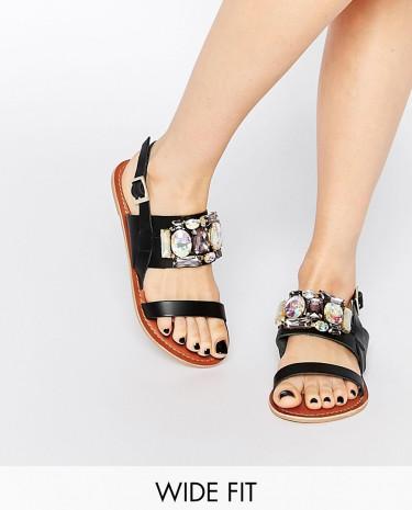 Fashion Shop - ASOS FLASH Wide Fit Embellished Flat Sandals - Black
