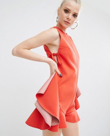 Fashion Shop - Kendall + Kylie Flutter Lace Up Romper - Orange