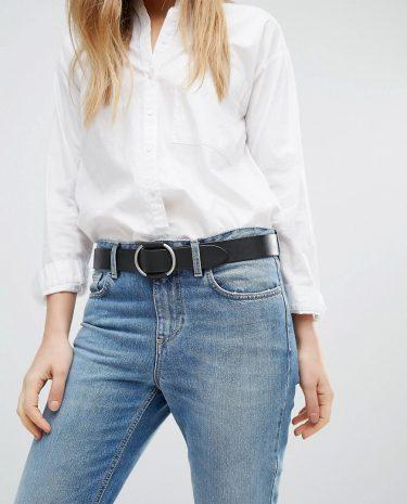 Fashion Shop - Pieces Leather Belt in Black - Black