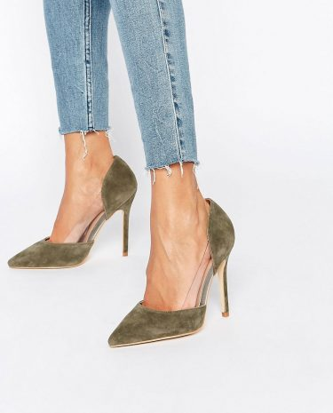 Fashion Shop - Public Desire Keely Clear Detail Khaki Court Shoes - Green